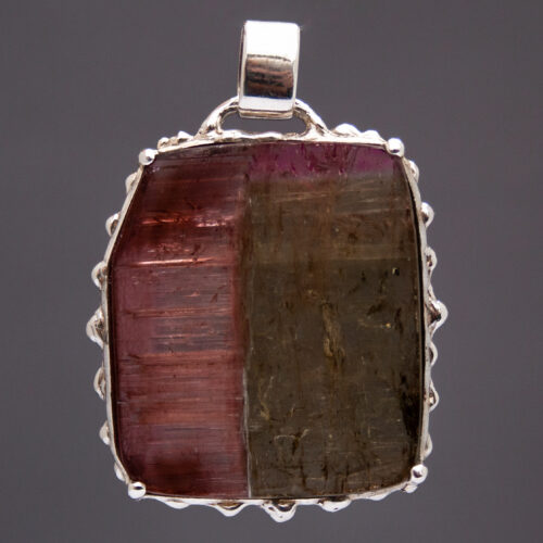 Large Reversible Watermelon Tourmaline Silver Pendant