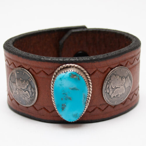 Turquoise Dime Leather Bracelet
