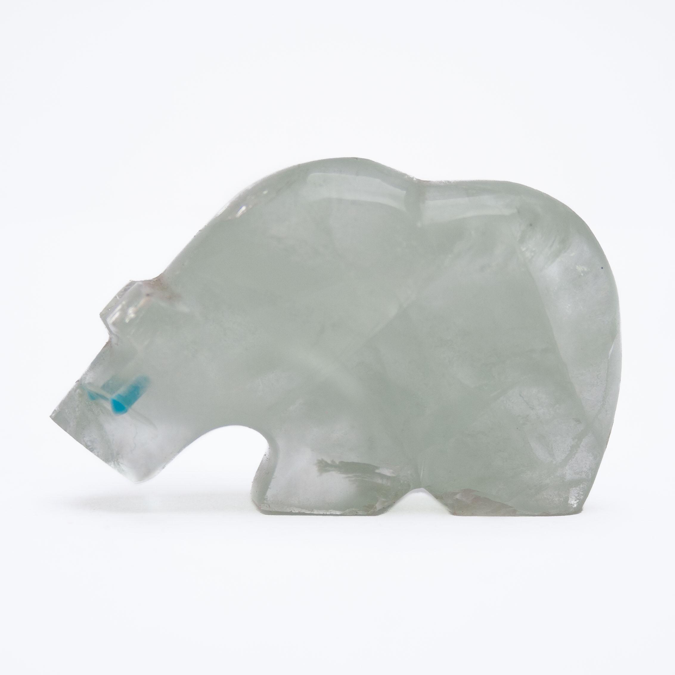 Native American Zuni Fluorite Bear Carving