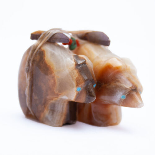Emery Eriacho Double Bear Agate Carving
