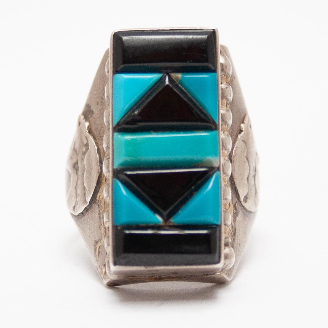 Pyno Zuni Turquoise Jet Mens Ring