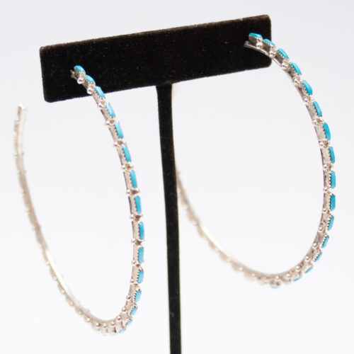 Large Silver Turquoise Hoops