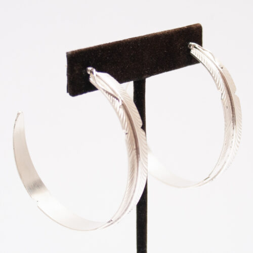 Silver Feather Hoops
