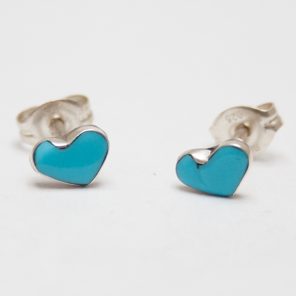 Turquoise Heart Studs