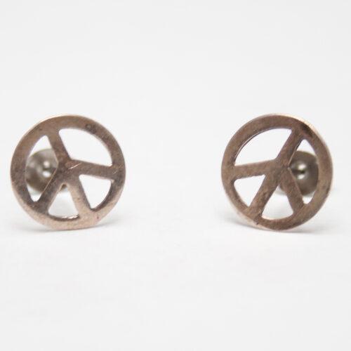 Peace Symbol Silver Studs