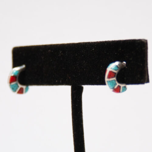Tiny Turquoise Coral Hoops