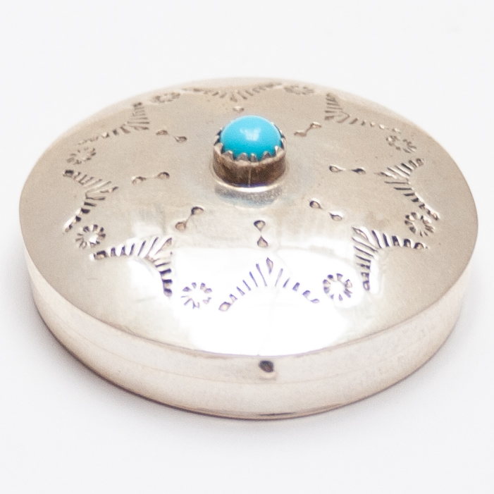 Silver Turquoise Pill Box