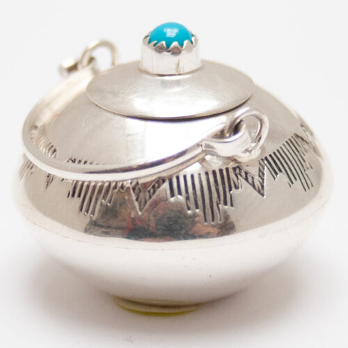 Miniature Silver Turquoise Pot