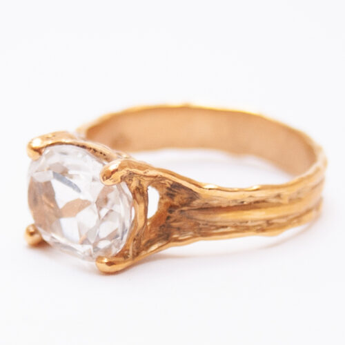 Gold Clear Topaz Ring