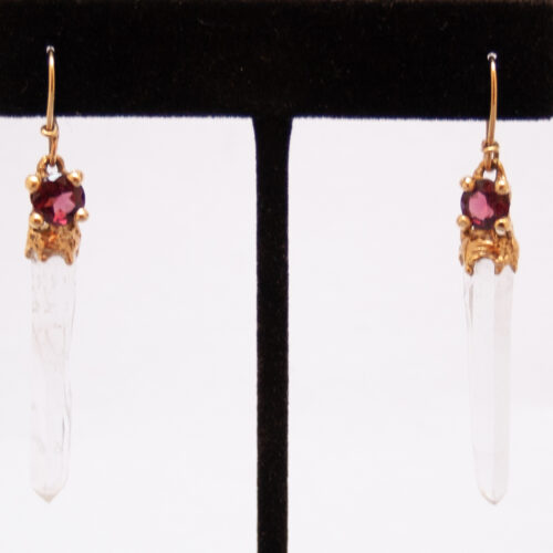 Gold Quartz Garnet Earrings