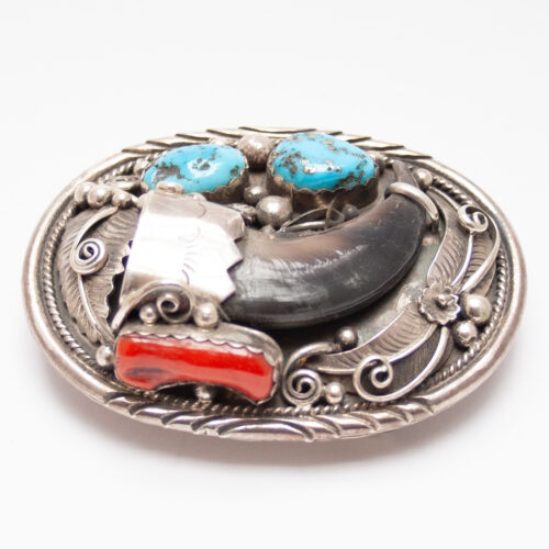 Kevin Yazzie Bear Claw Turquoise Coral Belt Buckle