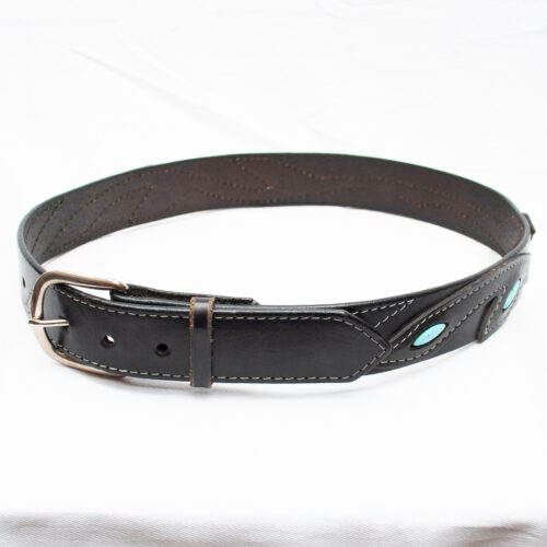 Black Leather Turquoise Belt