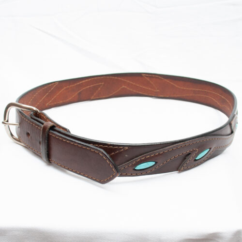 Brown Leather Turquoise Belt