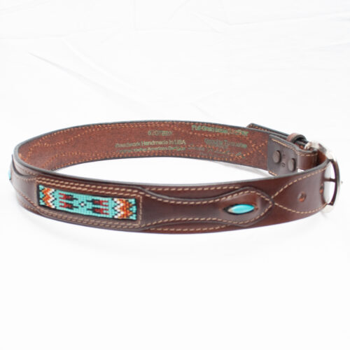 Brown Leather Beaded Belt