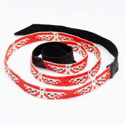 Red Beaded Headband Hatband