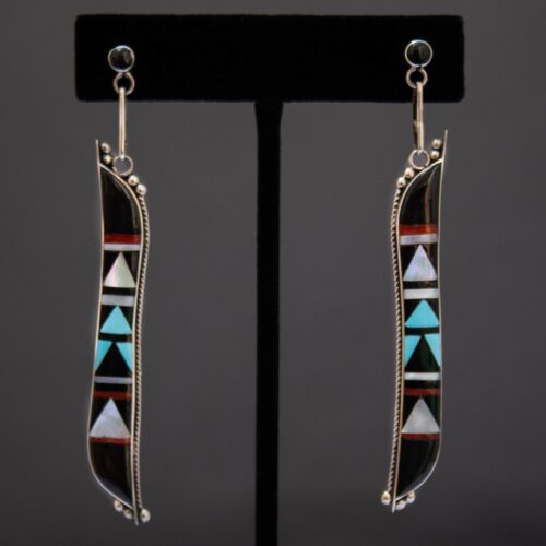Long Black Zuni Inlay Drop Earrings