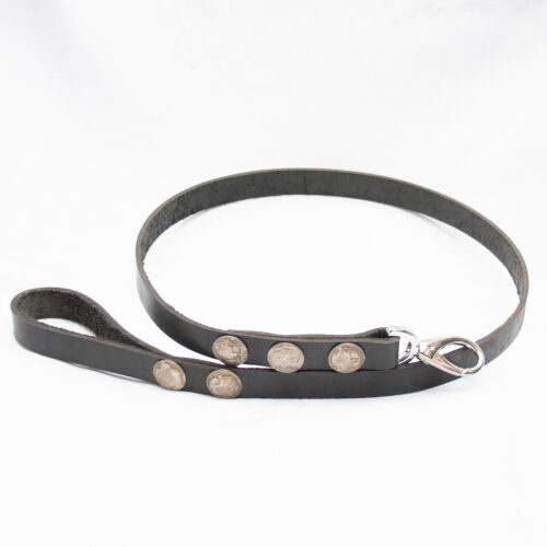 Black Leather Dog Lead