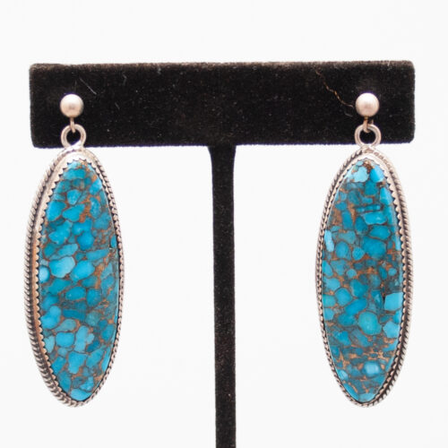 Turquoise Oval Drop Earrings