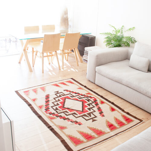 Tapis Navajo Orange Laine Churro Années 1920