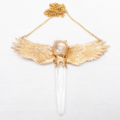 Gold Quartz Moonstone Necklace