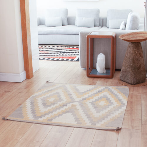 Grey Yellow Square Rug