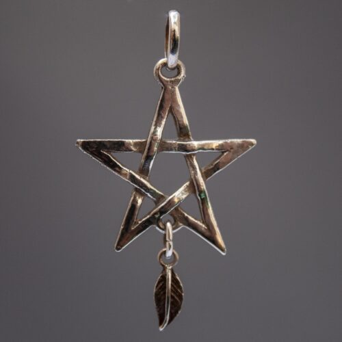 Sterling Silver Feather Pentacle Necklace