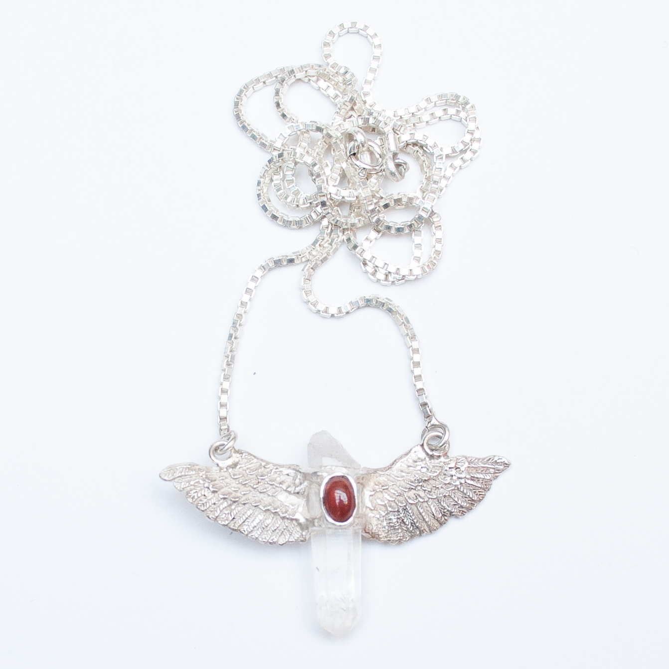 Clear Quartz & Red Garnet Sterling Silver winged necklace with chain