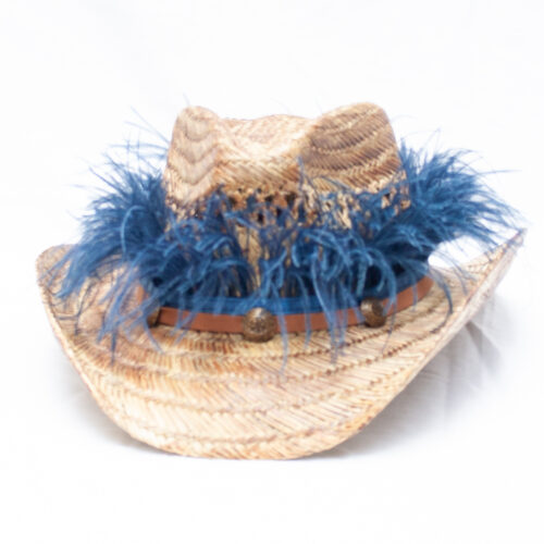 Blue Ostrich Feather Hat