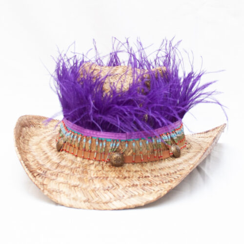 Purple Feather Straw Hat