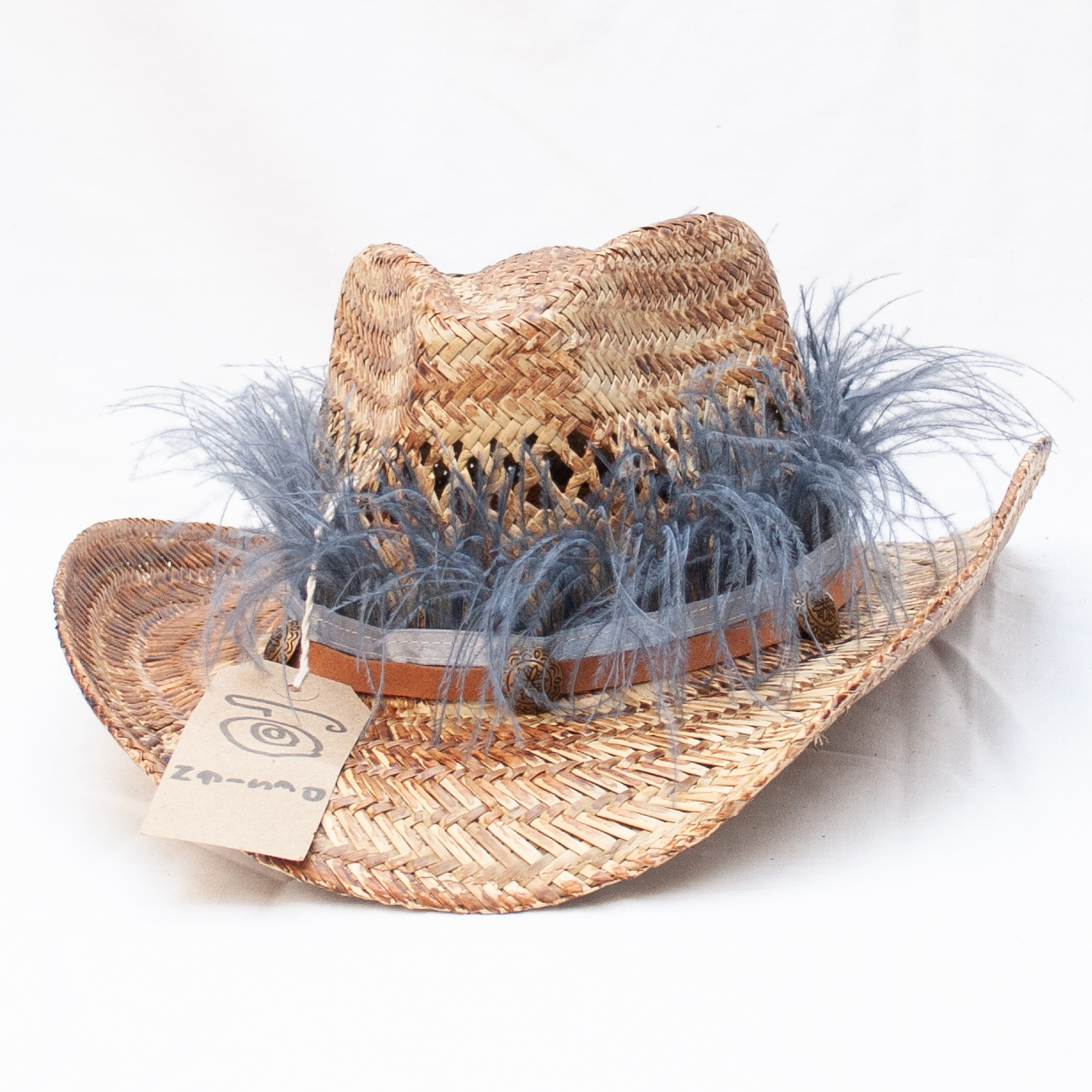 Grey Blue Feather Hat