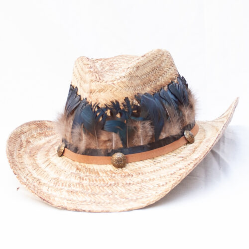 Brown Feather Straw Hat