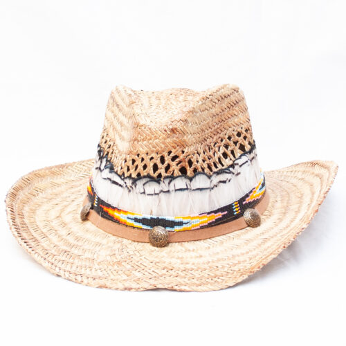 White Feather Straw Hat
