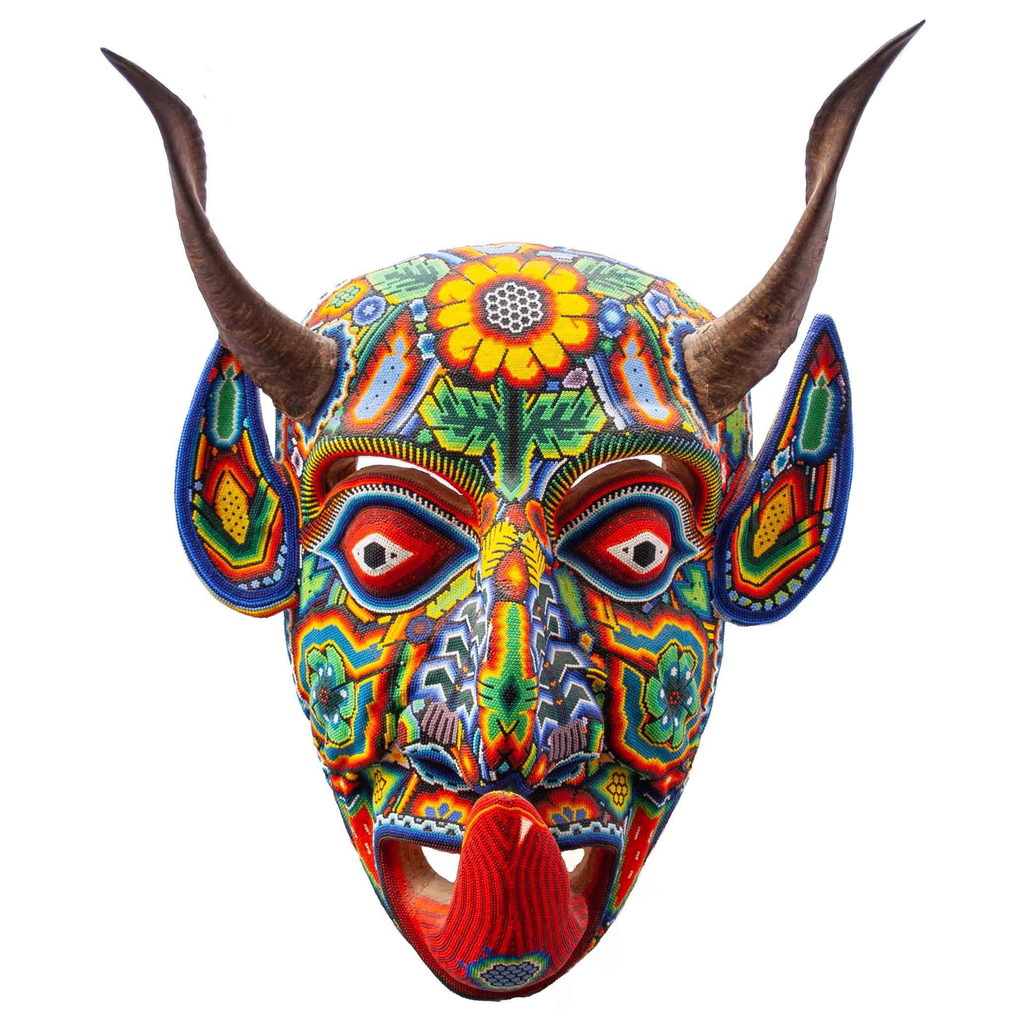 Large Horned Demon Huichol Beaded Sculpture
