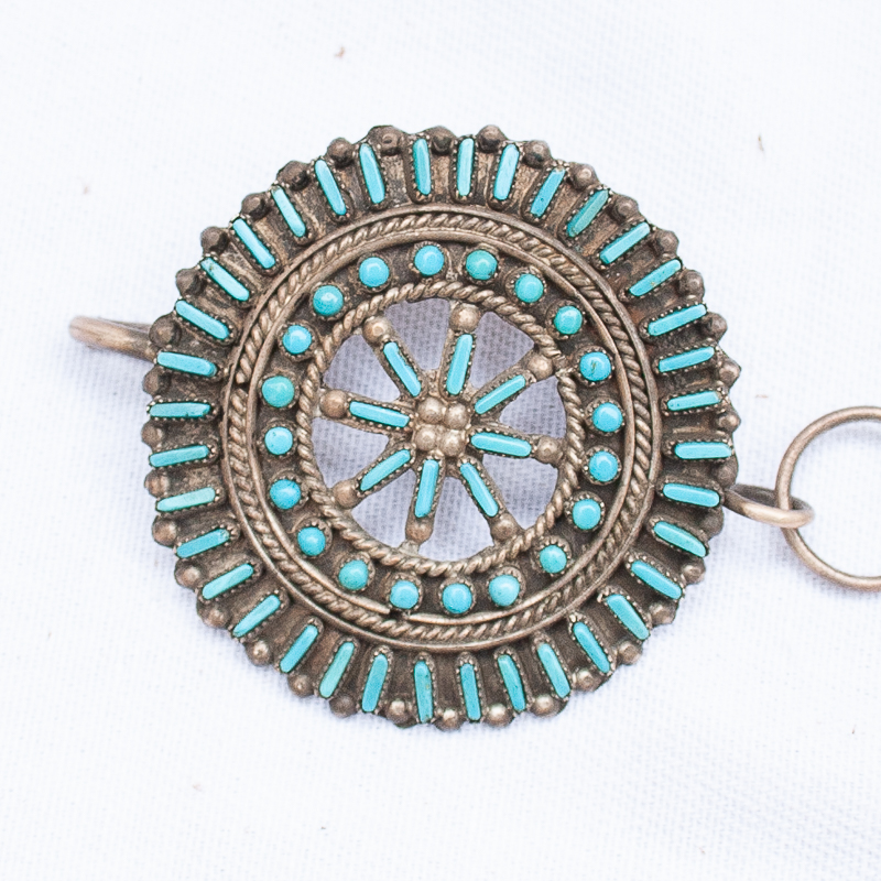 Native American turquoise concho belt by Alice Sam