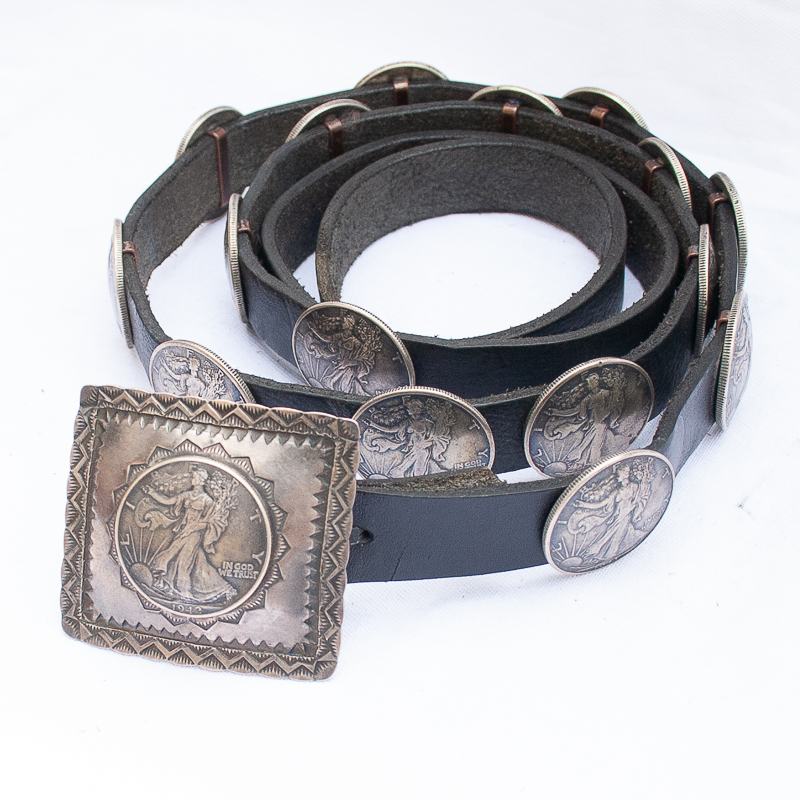 Vintage Native American Navajo Liberty coin concho belt by Buffalo Dancer