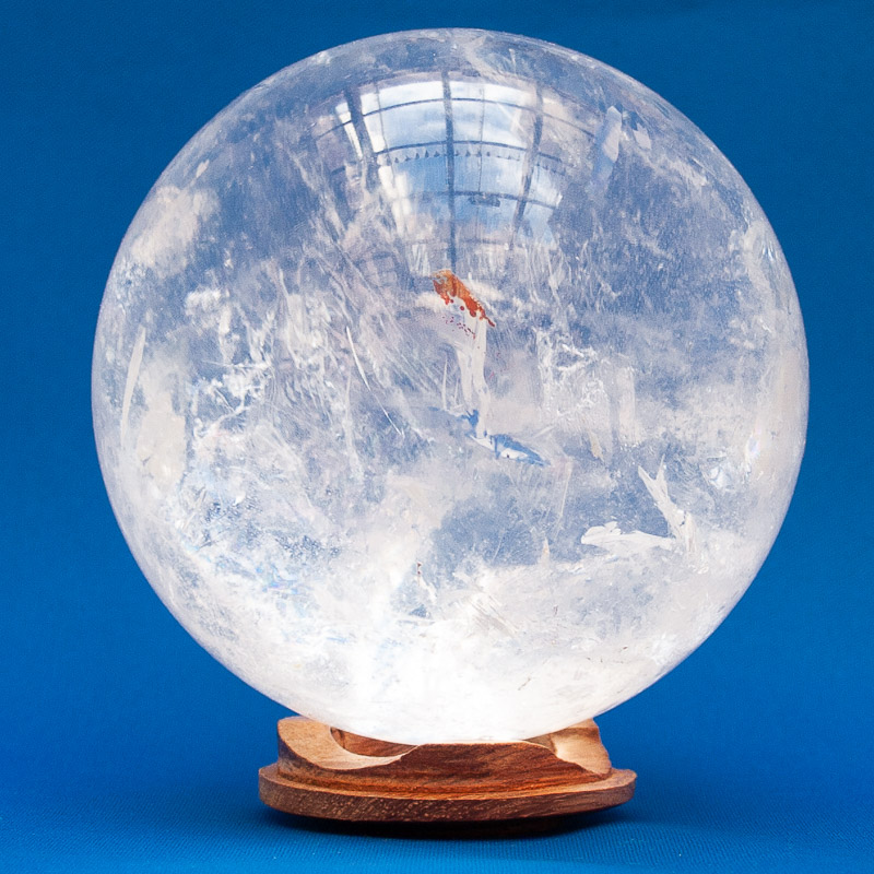 Clear Quartz Iron Crystal Ball
