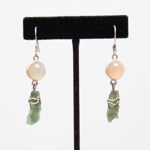 Rose Quartz Moldavite Earrings