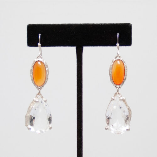 Carnelian Clear Quartz Earrings