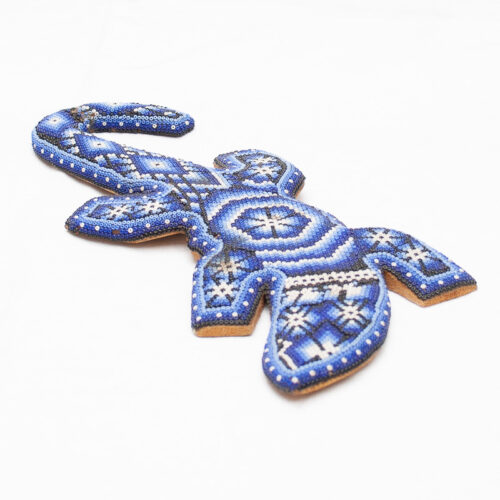 Huichol Beaded Blue Salamander