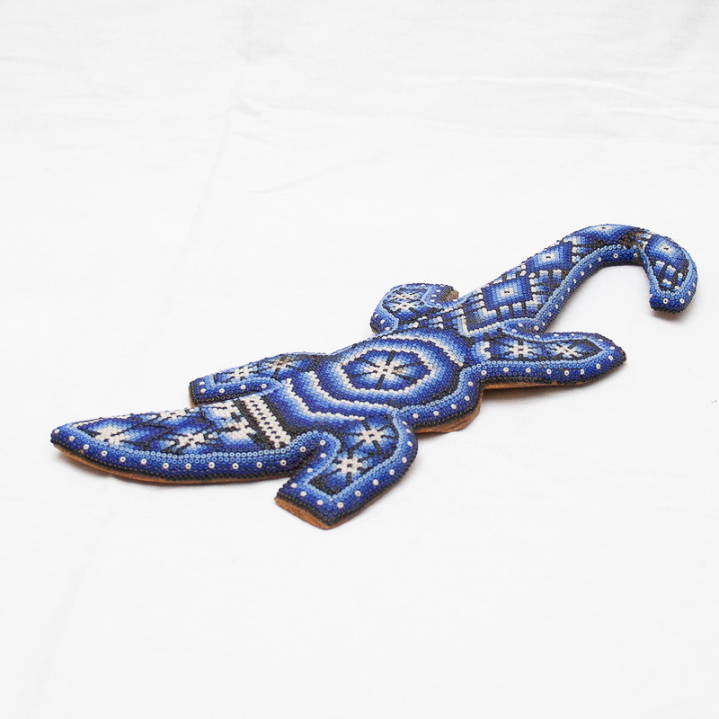 Huichol Beaded Blue Salamander