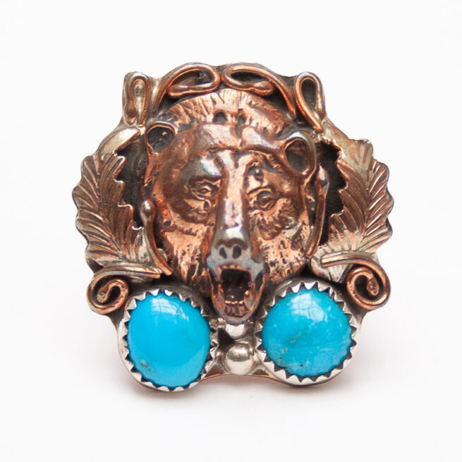 Copper Turquoise Bear Ring