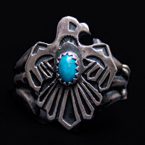 Silver Turquoise Navajo Eagle Ring