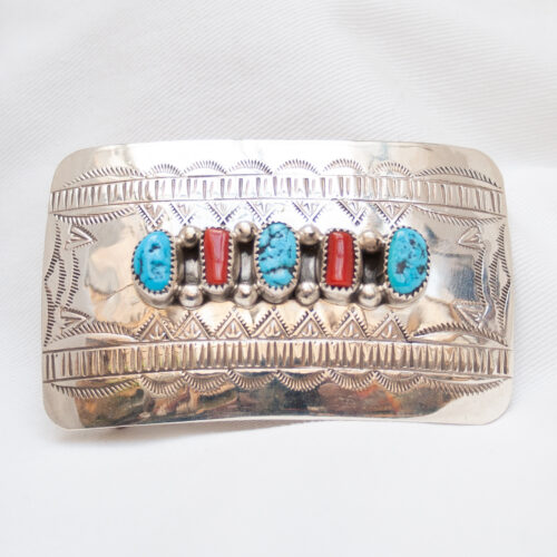 Wilbur Muskett Turquoise Coral Silver Buckle
