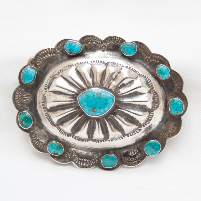 Vintage Turquoise Silver Buckle