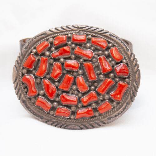 Tommy Moore Navajo Red Coral Belt Buckle