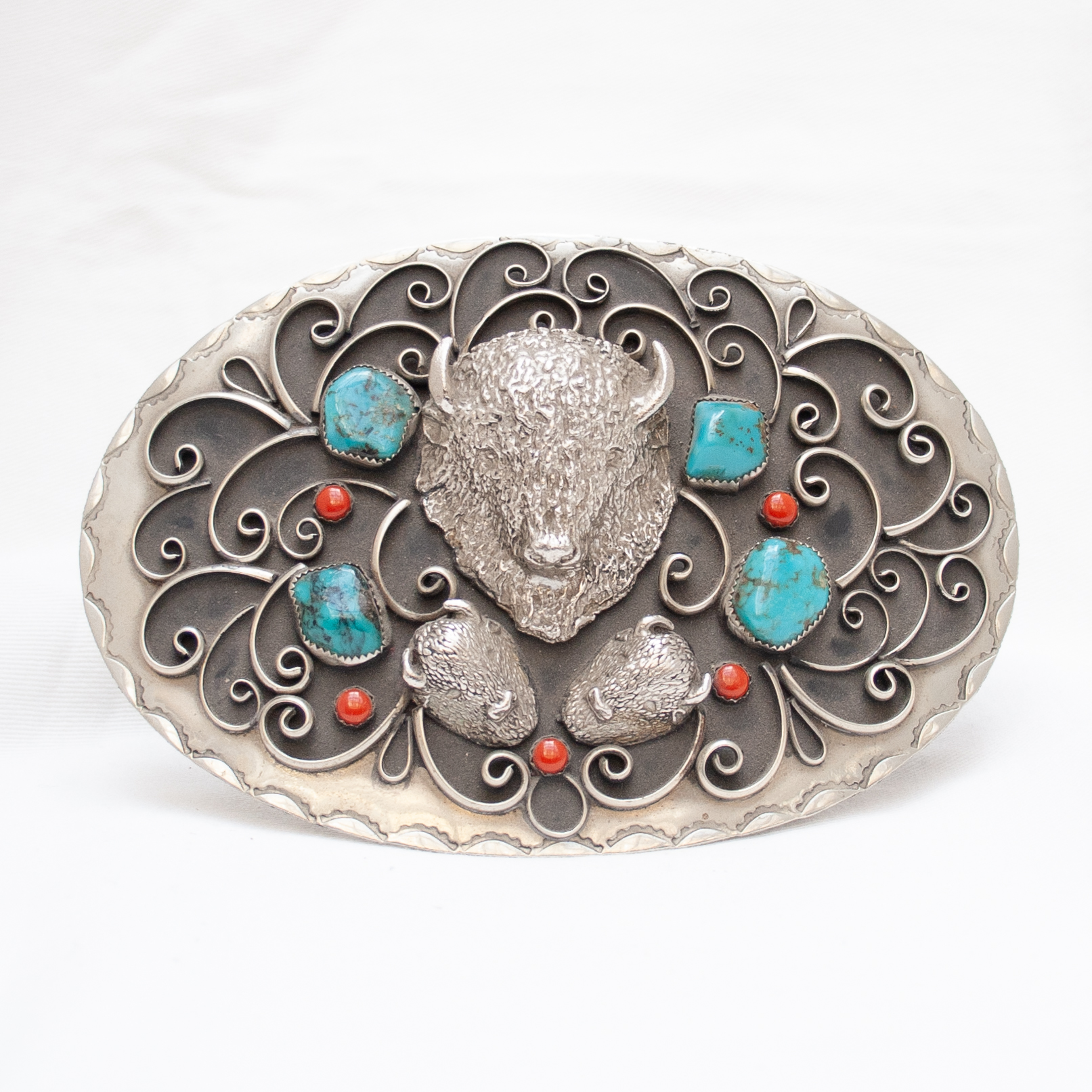 1972 Vintage Large Buffalo Turquoise Coral Silver Belt Buckle