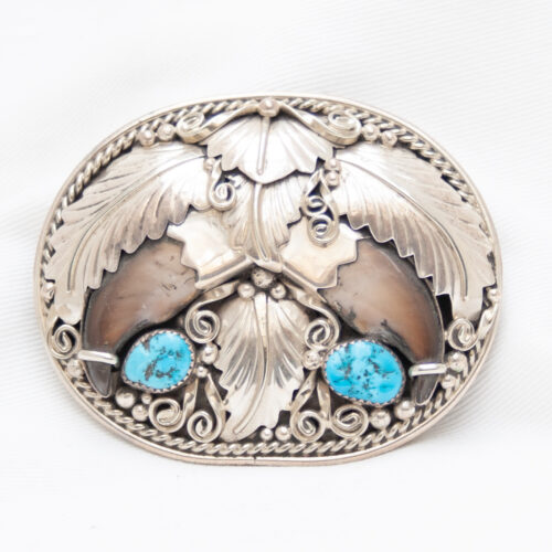 Gary Edwards Double Bear Claw Turquoise Buckle