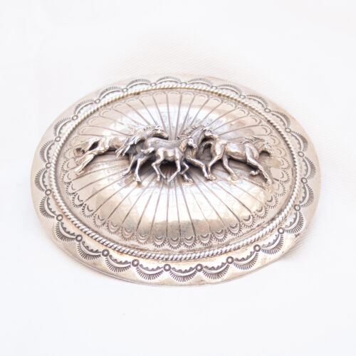 Wilbur Muskett Sterling Silver Horse Belt Buckle