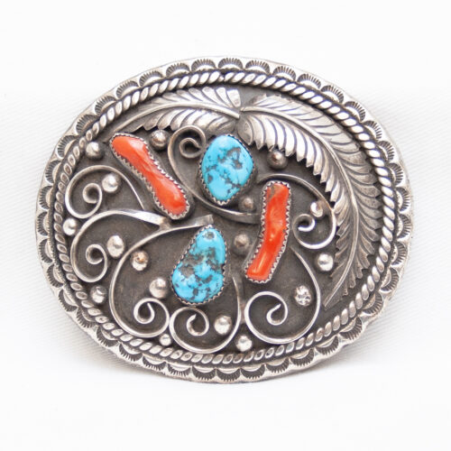 Sterling Silver Turquoise Coral Navajo Belt Buckle