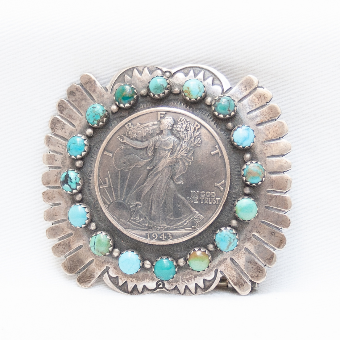 Dylan Hopper Liberty Coin Silver Turquoise Belt Buckle